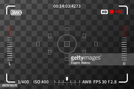 Camera viewfinder with iso, battery and audio levels marks on transparent background : stock vector