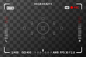 Camera viewfinder with iso, battery and audio levels marks on transparent background
