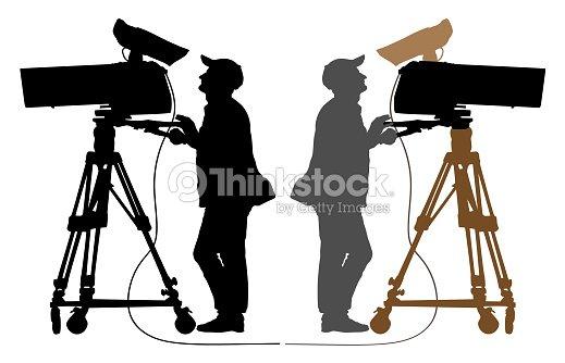 Cameraman silhouette, TV Camera : stock vector