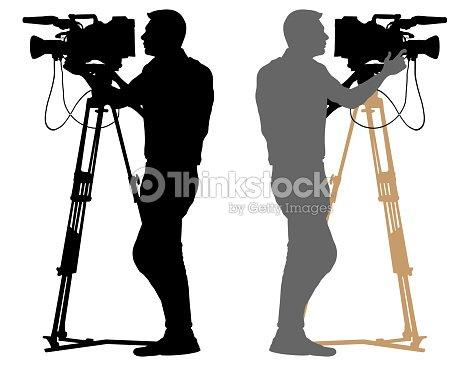 Cameraman silhouette. Video operator white background : stock vector