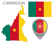 Colorful flag, map pointer and map of Cameroon in the colors of the Cameroonian flag. High detail. Vector illustration