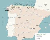 Camino del Norte map. Camino De Santiago or The Way of St.James. Ancient pilgrimage path to the Santiago de Compostella on the north of Spain.