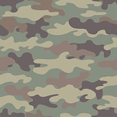 Camouflage seamless pattern. Abstract military style backdrop. Great for print on fabric. Vector illustration.