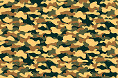 Camouflage seamless pattern. Military clothing texture background with yellow, green and brown foliage. Army style camouflage print for textile industry. Vector