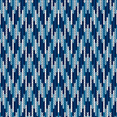 Camouflage Style Abstract Knitted Pattern. Seamless Knitting Texture with Shades of Blue Colo.