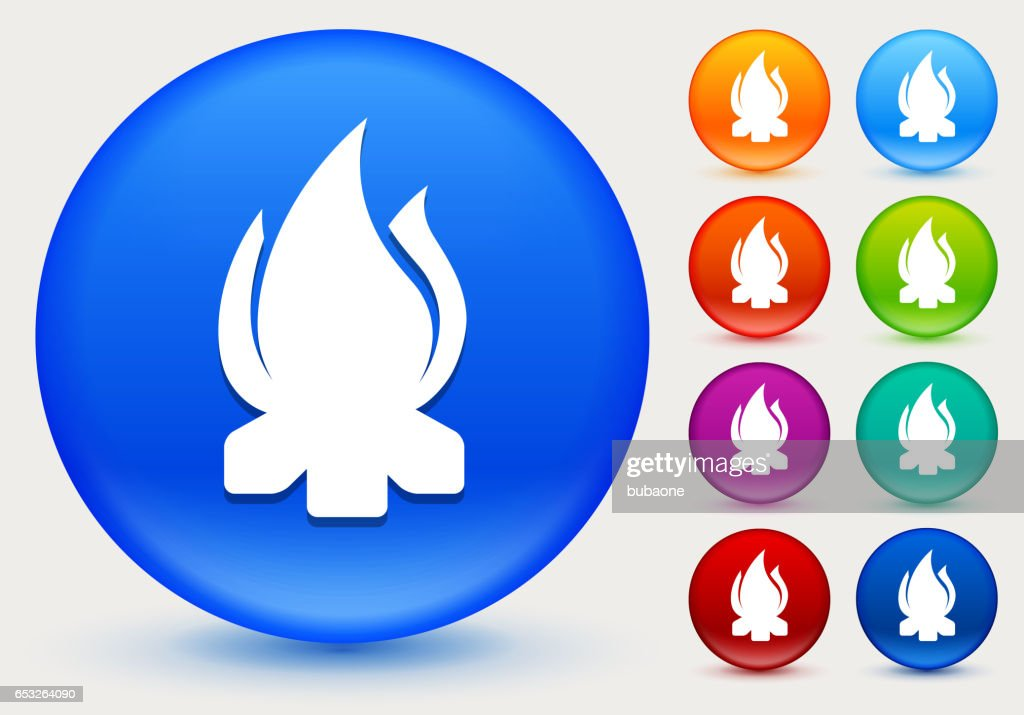 Camp Fire Icon on Shiny Color Circle Buttons : Clipart vectoriel