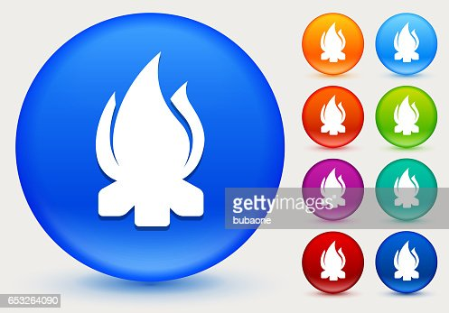 Camp Fire Icon on Shiny Color Circle Buttons : Vector Art