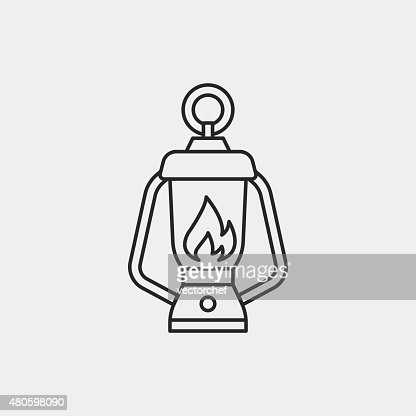 camp light line icon : Vector Art