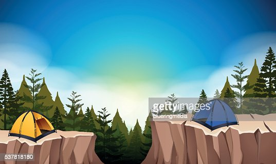 Camp site with two tents on the cliff : stock vector
