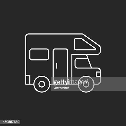 Camper van line icon : Vector Art