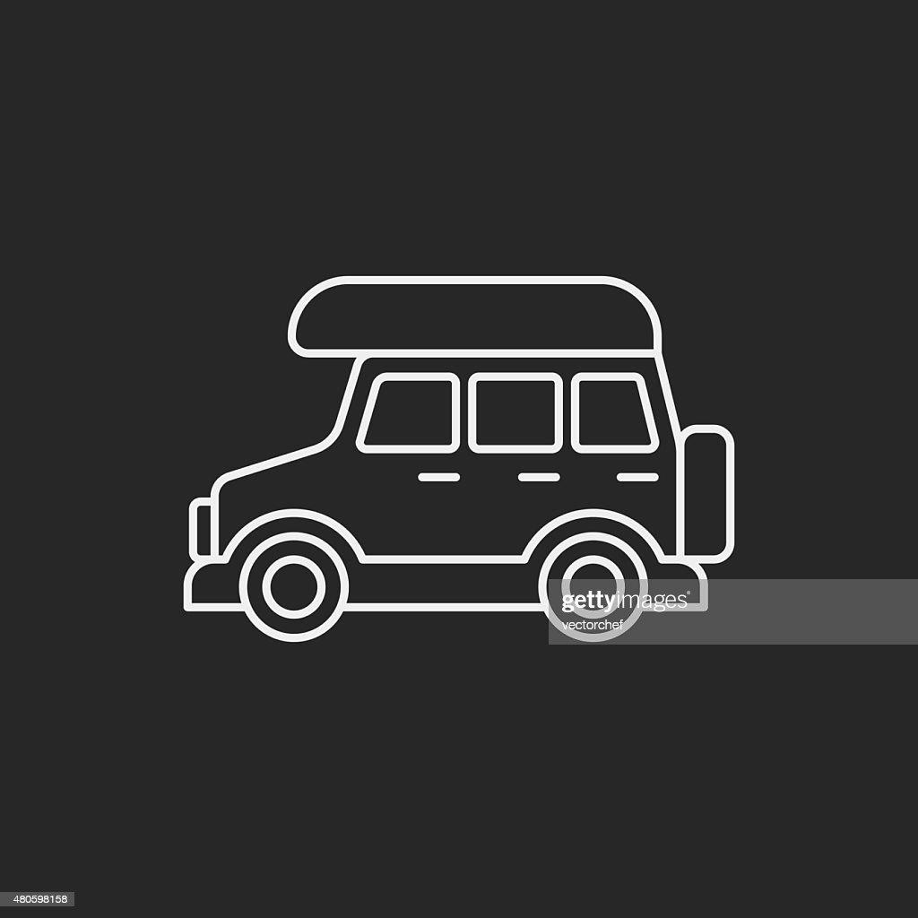 Camper van line icon : Vector Art