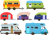 Campers cars set. Different resort trailers. Vector pictures in flat style. Travel trailer caravan, illustration of car home truck