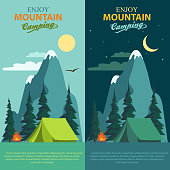 Camping Adventure, Summer Day and Night Mountains Landscape, climbing trip, bonfire and tent, outdoor hiking, vector