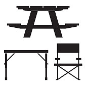Wooden camping table icon in outline design. Outdoor picnic furniture silhouette illustration.