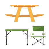 Colorful wooden camping table and plastic picnic table vector illustration.