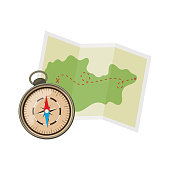 Map and compass for camping tourism, cartoon illustration of travel equipment. Vector