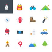 Camping Outdoor Colourful Icons Set, Vector Illustration Design