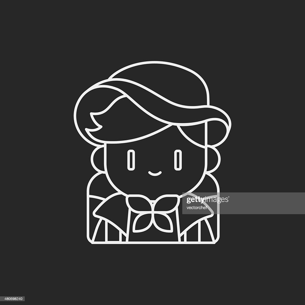 camping girl line icon : Vector Art