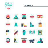 Camping, hiking, wilderness, adventure and more, flat icons set, vector illustration