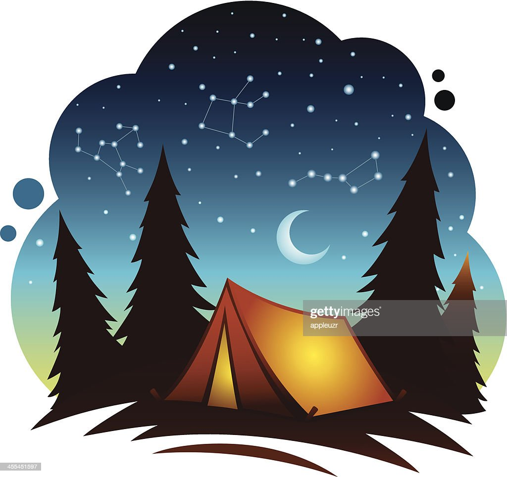 Camping Scene With Tent Vector Art | Getty Images