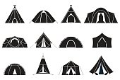 Camping and hiking tent types in outline design. Tourist tents icons collection. Label template.