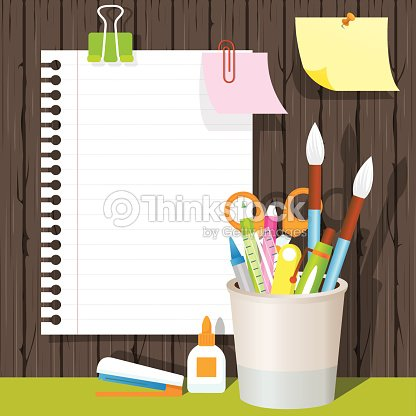 Can Holder With Office Supplies And Stationery Paper Background Vector Art