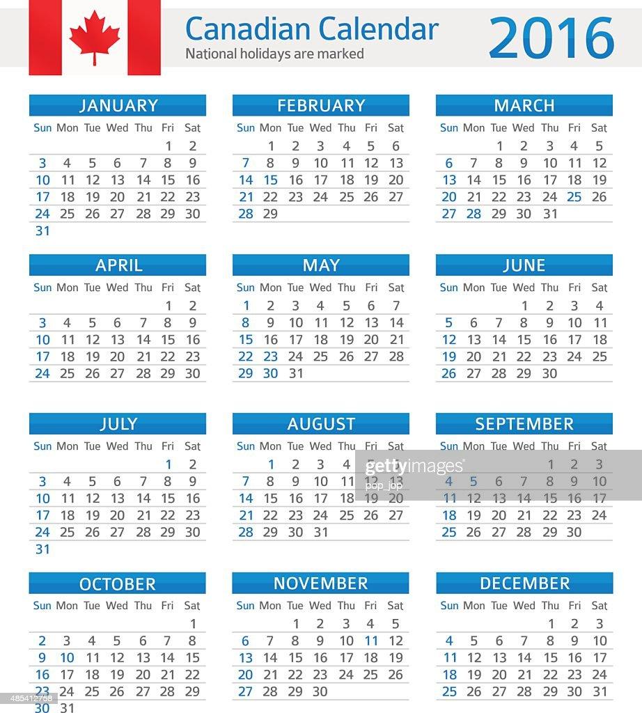 Canada Calendar 2016 Vector Art | Getty Images