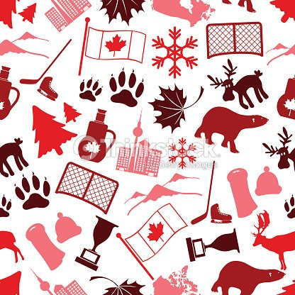 Canada Country Theme Symbols Icone Seamless Pattern Eps10 ...