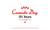 Canada Day Banner Vector illustration, 151 Years anniversary with flag of Canada.