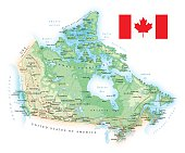 Large detailed road map of Canada