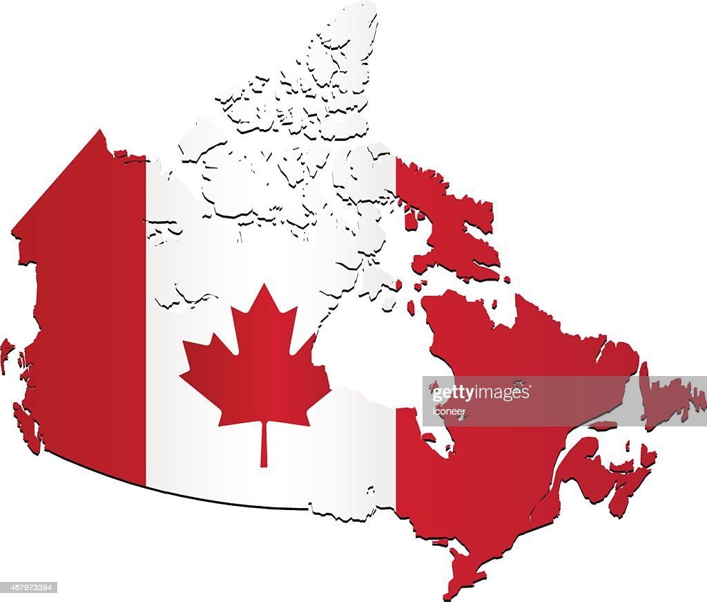 canada flag map on white background vector art getty images