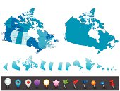 Highly detailed map of Canada with administrative divisions, cities, flag and navigation icons.