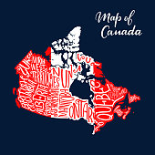 Canadian map with province and territory lettering in white and red colors of national flag. Map of Canada country. Travel, geography and cartography themes design