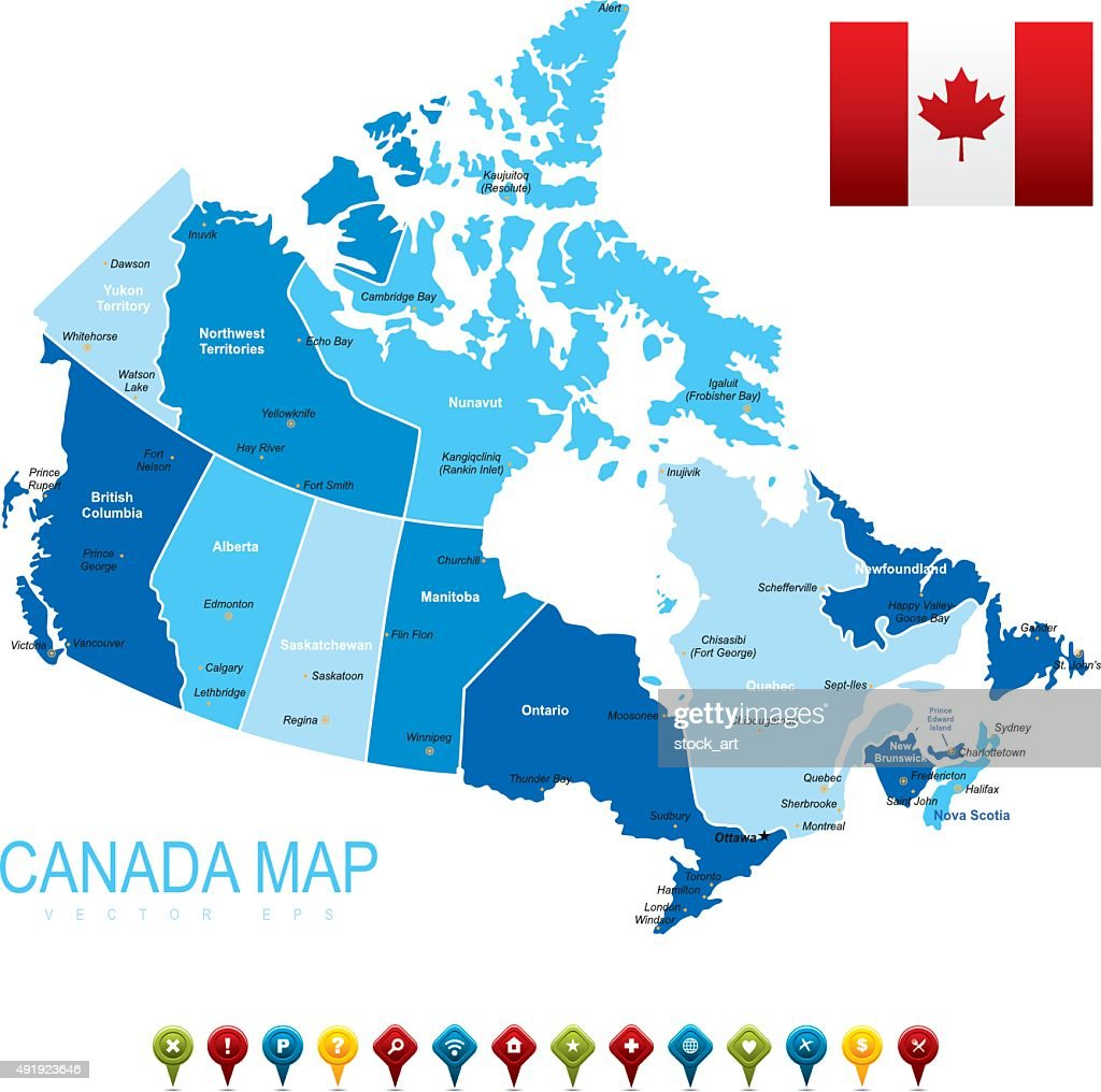 Canada Sketch Map With Region Names Vector Art Getty Images