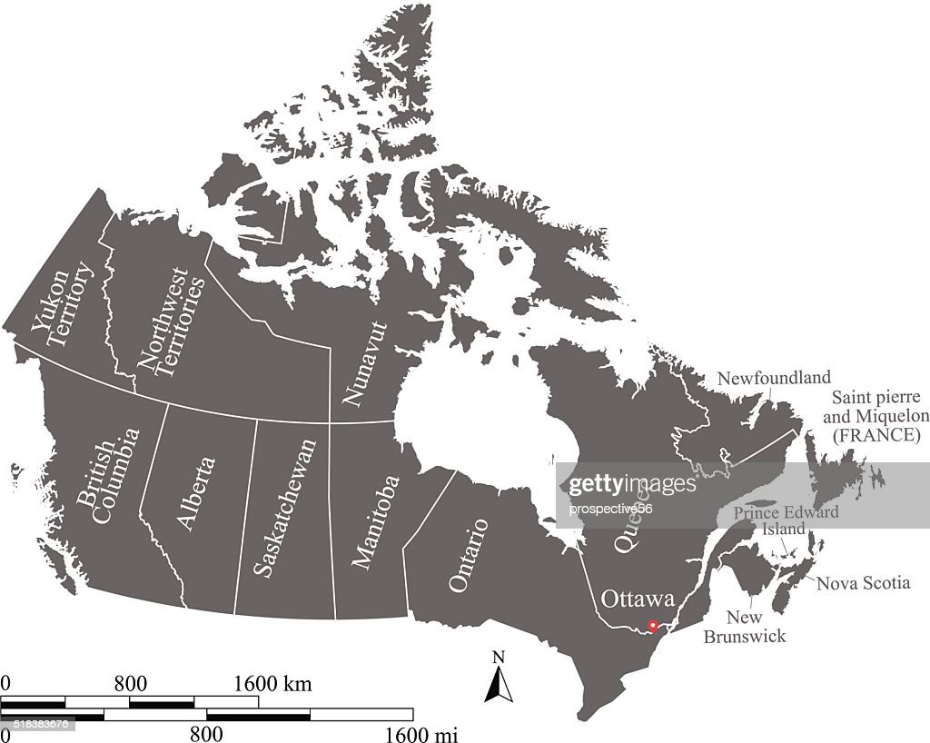 Canada Map Vector Outline With Scales And Provinces And