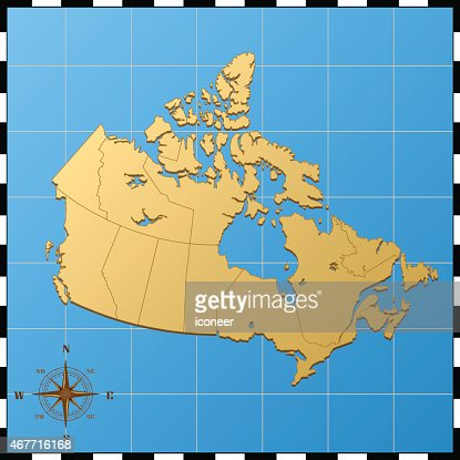 canada map with pass rose on blue background vector art ty