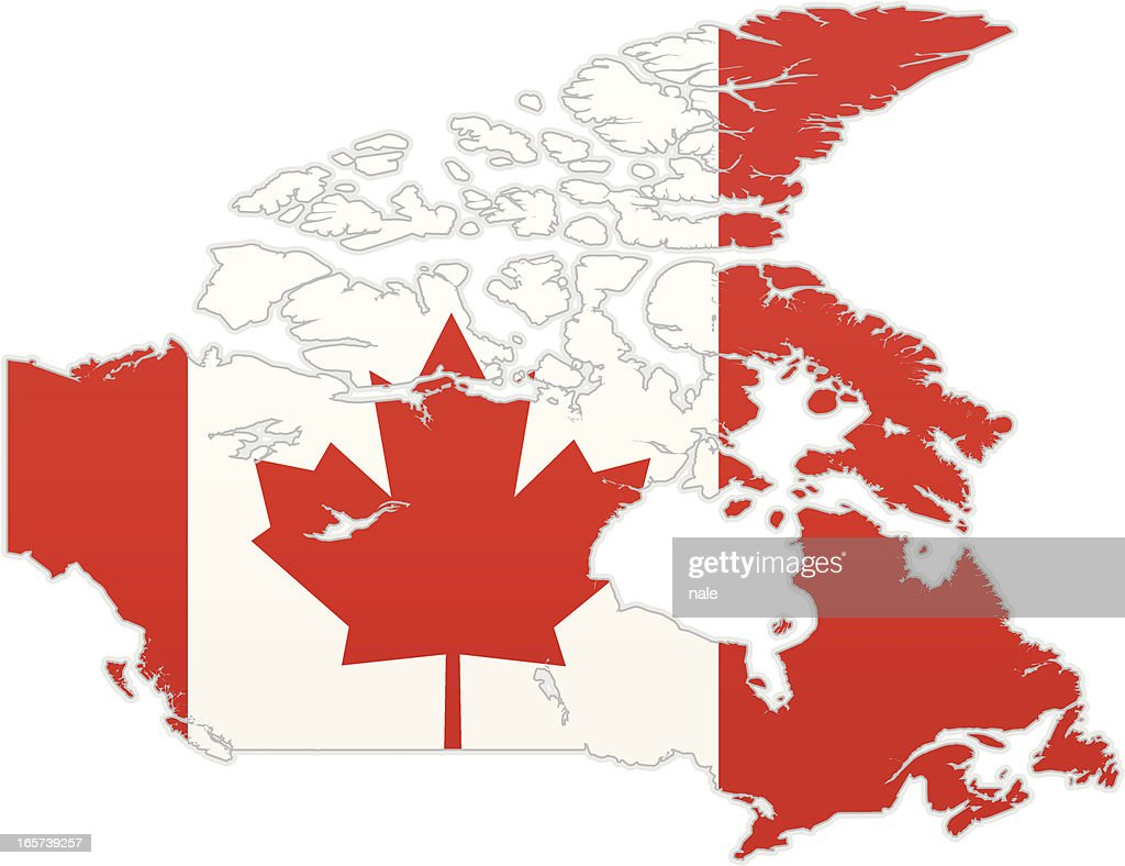 Canada Map With Flag Vector Art Getty Images - Canada map with flag