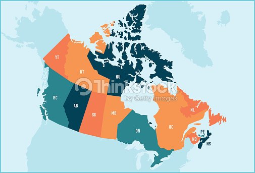 Canada Provinces And Territories Map stock vector | Thinkstock