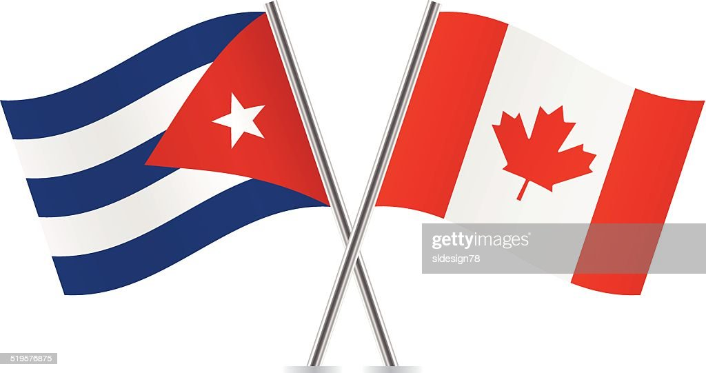 Canadian And Cuban Flags. Vector.