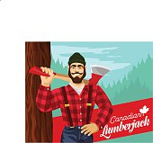 Illustration of a man with an ax in a forest.Stereotypical Canadian lumberjack.