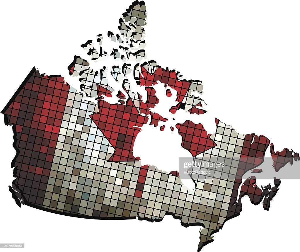 Canadian Map Grunge Mosaic Vector Art Thinkstock