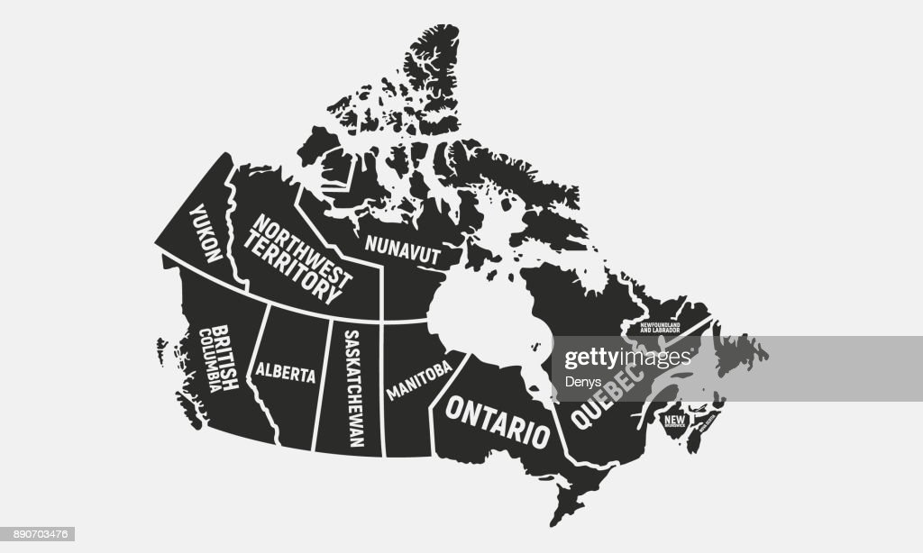 Canadian Map Poster Map Of Canada Provinces And Territories Of