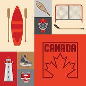 A group of many Canadian symbols.