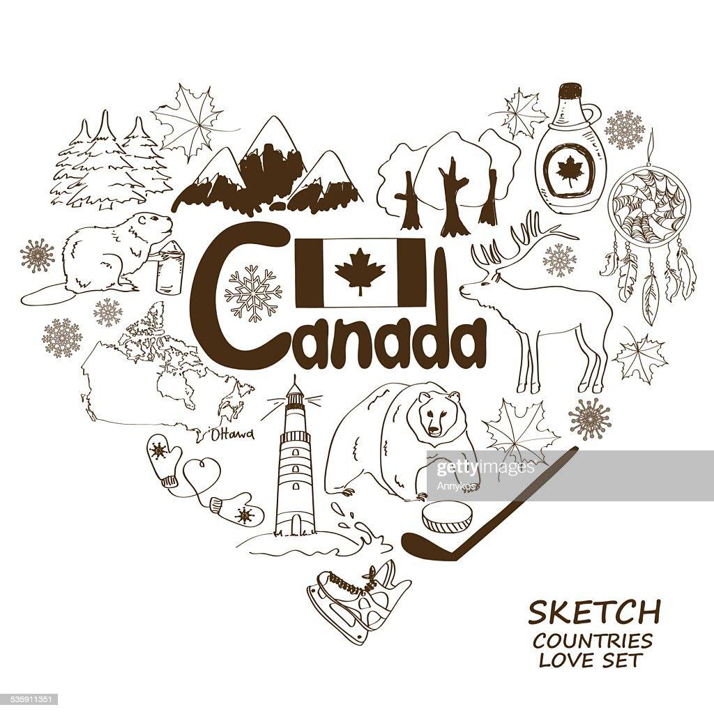 Canadian Símbolo en forma de corazón concepto. : Arte vectorial