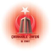 Republic of Turkey National Celebration Card Design. Canakkale Victory Monument on Turkey flag background. Anniversary of Canakkale Victory.