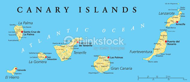 Canary Islands Political Map Vector Art Thinkstock - Tenerife on a world map