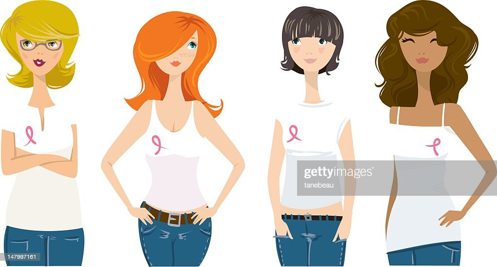 Cancer awareness ribbon ladies : Vectorkunst