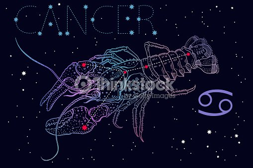 Cancer Zodiac Sign And Constellation Symbol On A Cosmic Blue