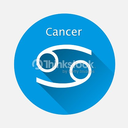 Cancer Zodiac Sign Astrological Symbol Icon In Circle With Long