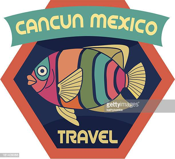 Cancun Mexico luggage label or travel sticker